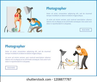 Studio and still life photographers web banners set. Model in swimsuit at backdrop, fruit near teapot composition for photo vector illustrations.
