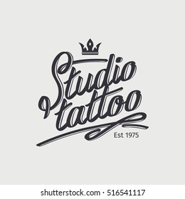 Studio tattoo retro logo template with crown. Vector illustration