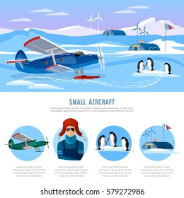 Study of the Arctic and Antarctic, flight to North Pole. Small aircraft. Travel to Antarctica infographics. Scientific polar explorers template design