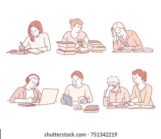 study hard students character hand drawn illustrations. vector doodle design