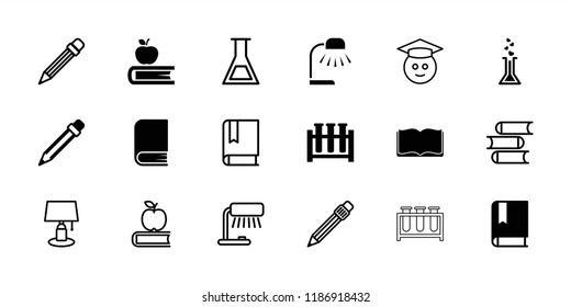 Study icon. collection of 18 study filled and outline icons such as pencil, book, test tube, table lamp, apple on book. editable study icons for web and mobile.
