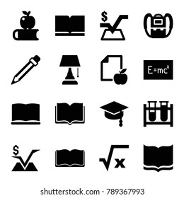 Study icons. set of 16 editable filled study icons such as backpack, book, mathematical square, square root, apple on book, paper and apple, test tube, board with formulas