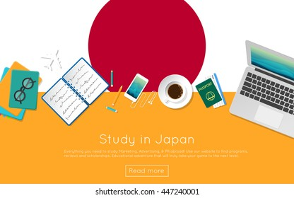 Study in Japan concept for your web banner or print materials. Top view of a laptop, books and coffee cup on national flag. Flat style study abroad website header.