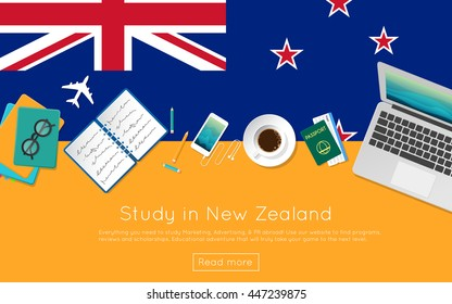 Study in New Zealand concept for your web banner or print materials. Top view of a laptop, books and coffee cup on national flag. Flat style study abroad website header.