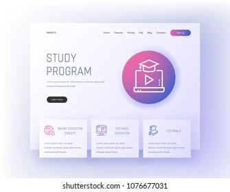 Study program, Online education concept, Distance education, Tutorials Landing page template. Template for website design.