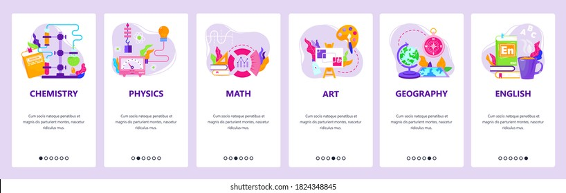 Study school education subjects chemistry, physics, math, art, geography, english. Mobile app screens. Vector banner template for website and mobile development. Web site design illustration.