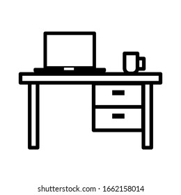 Study table icon vector sign and symbols on trendy design