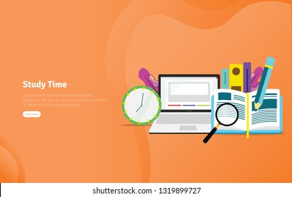 Study Time Students Concept Educational and Scientific Illustration Banner, Suitable For Wallpaper, Banner, Background, Card, Book Illustration or Web Landing Page