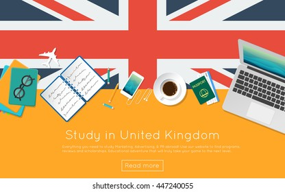Study in United Kingdom concept for your web banner or print materials. Top view of a laptop, books and coffee cup on national flag. Flat style study abroad website header.