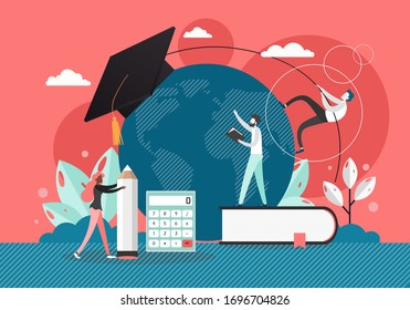 Study at the university, vector flat illustration. Huge planet Earth globe with graduation hat and micro characters students with book, pencil, calculator. Global study, education, knowledge.