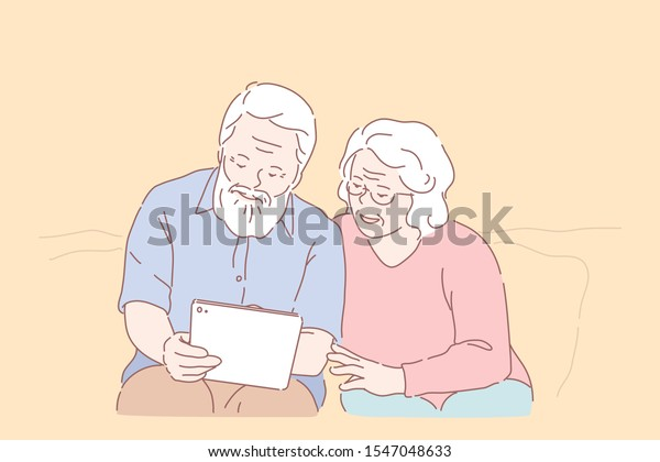 Studying computer by elderly people concept. Technology spread, oldster education, active social life, online communication, senior couple with tablet, learning to use PC together. Simple flat vector