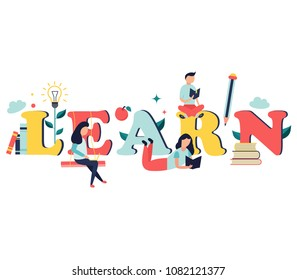 Studying concept with bright characters and elements. Education concept, distance learning, online courses