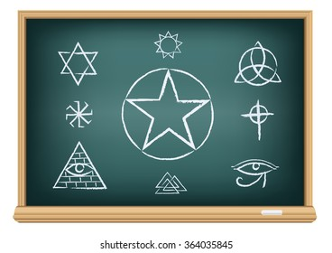 Studying magic and religion symbol. Drawings signs on education blackboard on a white background. Perun, Pentagram, Valknut, Solomon, pyramid eye, Trinity, Horus, Celtic cross