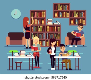 Studying students in library interior with books and bookshelves vector illustration