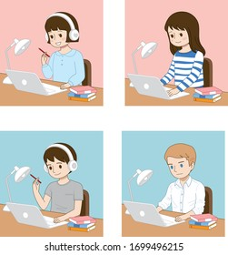 studying and working on the desk vector illustration