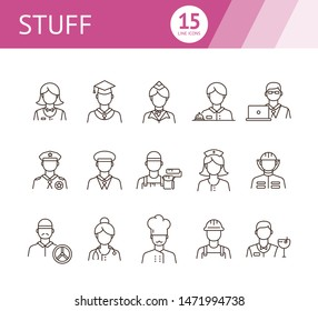 Stuff icons. Set of line icons on white background. Sheriff, welder, graduate. Job concept. Vector illustration can be used for topics like career, service, occupation