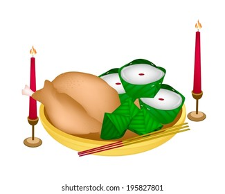Stuffed Dough Pyramid Dessert and Chinese Pudding or Chinese Sweetmeat with Boiled Chicken or Boiled Duck for Pay Respect to God in Chinese New Year.