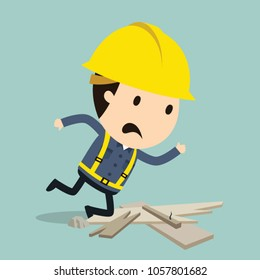 Stumbling over a stone, Vector illustration, Safety and accident, Industrial safety cartoon
