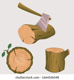 Stump with axe isolated on white background. Wooden axe element for woodworking or lumberjack emblem or icon. Realistic vector illustration of metal ax with handle made of wood stuck in tree trunk