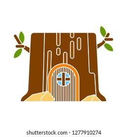 stump-house icon - stump-house isolated,home garden illustration- Vector home
