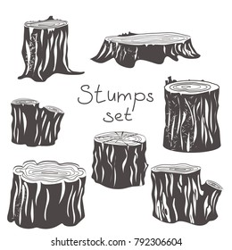 Stumps black and white line engraved silhouettes set. vector illustration