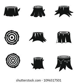 Stumps tree log wood icons set. Simple illustration of 16 stumps tree log wood vector icons for web