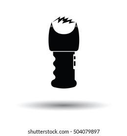 Stun gun icon. White background with shadow design. Vector illustration.
