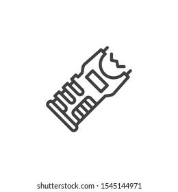 Stun gun line icon. linear style sign for mobile concept and web design. Police taser gun outline vector icon. Symbol, logo illustration. Vector graphics