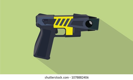 stun gun pistols electric with flat and long shadow style vector illustration