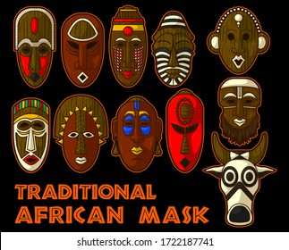 stuning ancient and traditional african mask Vector Illustration Set in black background.