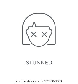 Stunned linear icon. Stunned concept stroke symbol design. Thin graphic elements vector illustration, outline pattern on a white background, eps 10.