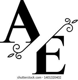 Stunning AE logotype with split elegant monograms letters suitable for logo, digital projects, cards, invitations etc. Enjoy it