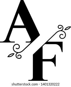 Stunning AF logotype with split elegant monograms letters suitable for logo, digital projects, cards, invitations etc. Enjoy it