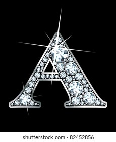 "A stunning beautiful ""A"" set in diamonds and silver.  Vector."