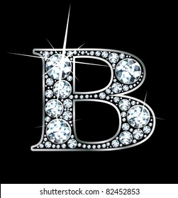 "A stunning beautiful ""B"" set in diamonds and silver. Vector."