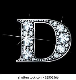 """A stunning beautiful """"D"""" set in diamonds and silver. Vector."""