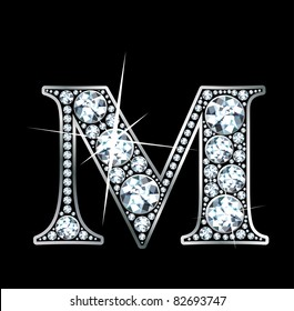 "A stunning beautiful ""M"" set in diamonds and silver. Vector"