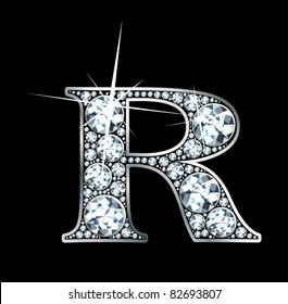 """A stunning beautiful """"R"""" set in diamonds and silver. Vector"""