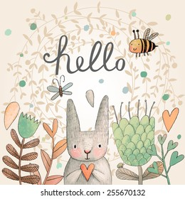 Stunning card with cute Rabbit, butterfly and bee in summer flowers. Awesome background made in watercolor technique. Bright easter concept card with hello text in vector