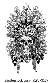 Stunning crown of feathers on a skull, repeating the Indian. Graphic illustration technique, dotwork