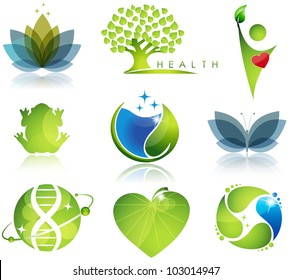 Stunning health-care and ecology symbols. Beautiful harmonic colors.