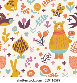 Stunning seamless pattern with birds swallows, rabbits, bear and leafs with flowers. Lovely floral background with cute animals and birds in bright colors in vector