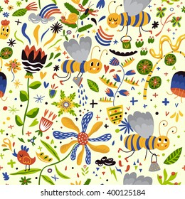 Stunning seamless pattern with cute bees and flowers. Colorful funny background in vector