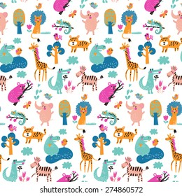 Stunning seamless pattern with wild animals from Africa. Koala, lion, crocodile, hippo, giraffe, tiger, zebra and iguana. Sweet childish background in bright colors in vector