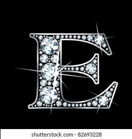 "A stunningly beautiful ""E"" set in diamonds and silver. Vector."