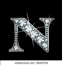 """A stunningly beautiful """"N"""" set in diamonds and silver. Vector"""