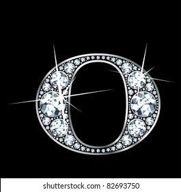"""A stunningly beautiful """"O"""" set in diamonds and silver. Vector"""