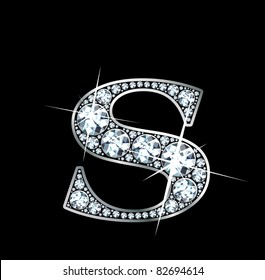 "A stunningly beautiful ""S"" set in diamonds and silver. Vector."