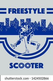 stunt kick scooter rider boy young man jump freestyle stunt kick scooter with city background in blu color vector illustration stencil design for t-shirt