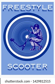 stunt kick scooter rider boy with his stunt kick scooter on geometric  background in blu color vector illustration stencil design for t-shirt flyer poster